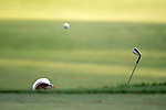 SUGAR GROVE, IL - MAY 29: John Oda of UNLV chips onto the green during the Division I Men's Golf Individual Championship held at Rich Harvest Farms on May 29, 2017 in Sugar Grove, Illinois. Oda tied for 8th place with a -3 score. (Photo by Jamie Schwaberow/NCAA Photos via Getty Images)