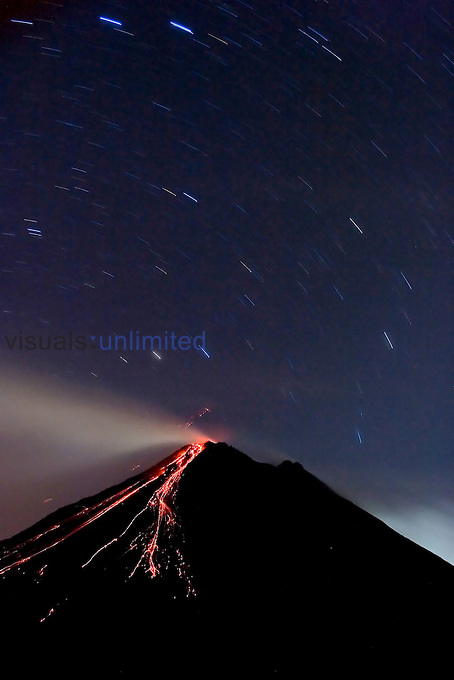 Star trails over the erupting Arenal Volcano, Costa Rica