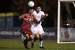 10 November 2010: BC's Isaac Taylor (11) and Duke's Matthew Thomas. The Duke University Blue Devils played the Boston College Eagles at Koka Booth Stadium at WakeMed Soccer Park in Cary, North Carolina in an ACC Men's Soccer Tournament Quarterfinal game.