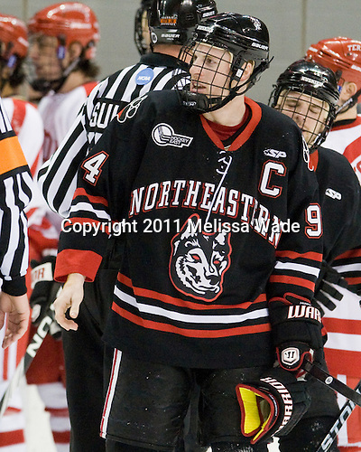 Tyler McNeely (Northeastern - 94) - The visiting Northeastern University Huskies defeated the Boston University Terriers 4-3 on BU's senior night on Saturday, March 5, 2011, at Agganis Arena in Boston, Massachusetts.