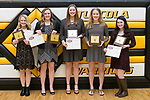 March 6, 2017- Tuscola, IL- The 2016-2107 Tuscola Warrior Girls Basketball award recipients. From left are Natalie Bates (Defense and All-Conference), Emma Henderson (MVP, Free Throw, All-Conference), Cassie Russo (Rebounds and All-Conference), Katrine Joergensen (Warrior Spirit), and Alexis Koester (Defense and All-Conference). [Photo: Douglas Cottle]
