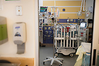 There are four private or semi-private bed spaces in the Neonatal Intensive Care Unit at Boston Children's Hospital, seen here in Boston, Mass., on Mon., June 13, 2016. Patient space, family space, and work space is all crowded together in the current NICU, especially the main section which has 24 spaces. The NICU will be greatly expanded under building plans for the hospital, but those plans will eliminate the Prouty Garden, a half-acre of green space at the hospital that many in the hospital community hold dear.