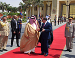 Egyptian President Abdel Fattah Sisi bids farewell to King of Bahrain Hamad bin Issa al-Khalifa at Cairo International Airport in Cairo on June 9, 2017. Photo by Egyptian President Office