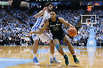 CHAPEL HILL, NC - DECEMBER 03: Tulane's Caleb Daniels (10) and North Carolina's Luke Maye (left). The University of North Carolina Tar Heels hosted the Tulane University Green Wave on December 3, 2017 at Dean E. Smith Center in Chapel Hill, NC in a Division I men's college basketball game. UNC won the game 97-73.