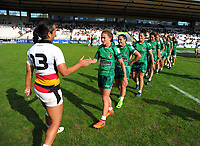 The teams shake hands after the Women's Cup Final between Manawatu and Waikato on day two of the 2018 Bayleys National Sevens at Rotorua International Stadium in Rotorua, New Zealand on Sunday, 14 January 2018. Photo: Dave Lintott / lintottphoto.co.nz