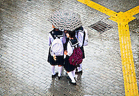 Five Tokyo school girls huddle under one umbrella in the rain at Shibuya`s famous crossing.
