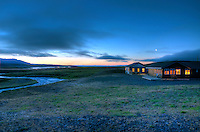 The fishing lodge at Svalbardsa around midnight early August.