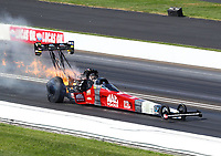 Sep 3, 2018; Clermont, IN, USA; NHRA top fuel driver Doug Kalitta explodes an engine on fire during the US Nationals at Lucas Oil Raceway. Mandatory Credit: Mark J. Rebilas-USA TODAY Sports