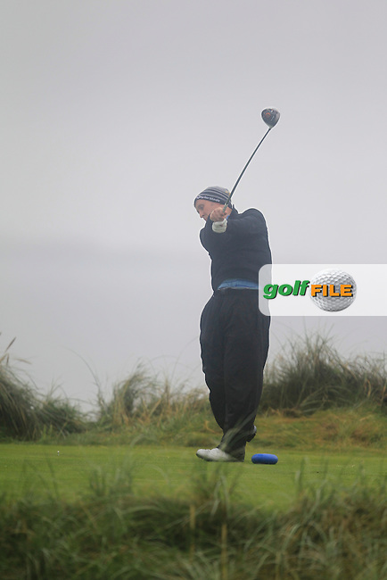 Paul O'Hara (Kilkenny) on the 4th tee during the South of Ireland Amateur Open Championship Final at Lahinch Golf Club  31th July 2013 <br /> Picture:  Thos Caffrey / www.golffile.ie