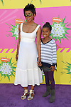 Angela Bassett and daughter arriving at the 2013 Nickelodeon Kid's Choice Awards, held at the USC Galen Center in Los Angeles, CA. on March 23, 2013.