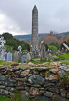 Glendalough Monastic Site with Round Tower.The Glendalough Valley is located in the Wicklow Mountains National Park and is part of The Wicklow Way walking route. County Wicklow, Ireland.