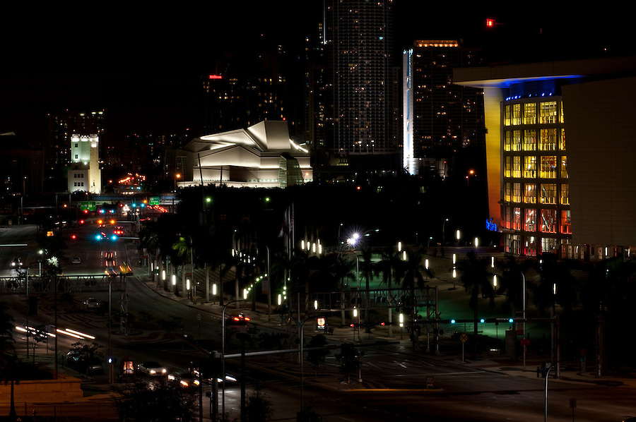 View of Biscayne Boulevard at night in Miami Downtown.