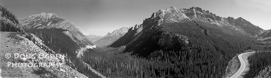 Black and white panoramic view looking east from Washington Pass, North Cascades Highway