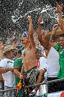 Mexico (MEX) fans celebrate the team's first goal. Mexico (MEX) defeated the United States (USA) 5-0 during the finals of the CONCACAF Gold Cup at Giants Stadium in East Rutherford, NJ, on July 26, 2009.