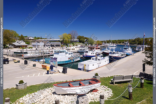 Boats in a harbour of Tobermory, Ontario, Canada, summertime scenic 2014