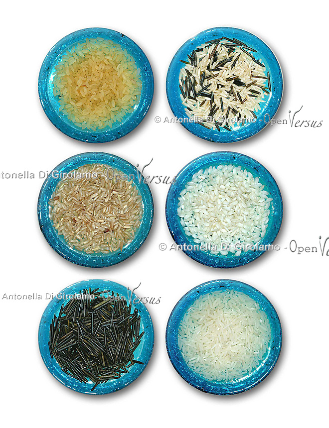 Vari tipi di riso. Various types of rice. ..
