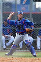 New York Mets catcher Jean-Luc Blaquiere #74 during a minor league spring training intrasquad game at the Port St. Lucie Training Complex on March 27, 2012 in Port St. Lucie, Florida.  (Mike Janes/Four Seam Images)