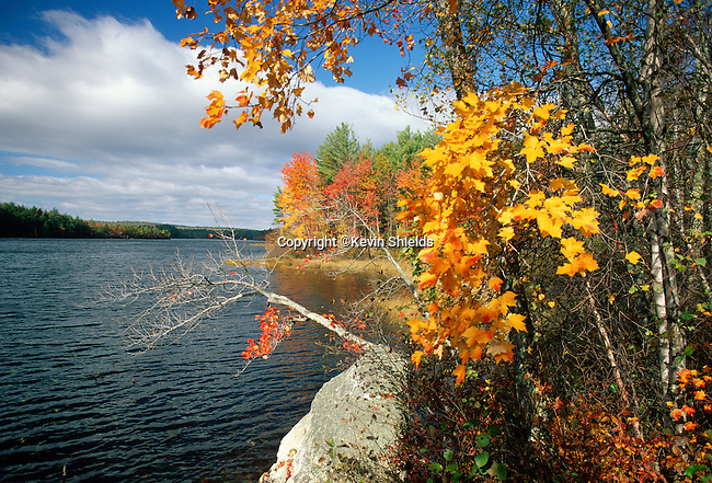 Fall view of Range Ponds State Park, Poland, Maine, USA
