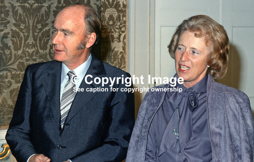 Dr Patrick Hillery, President of Rep of Ireland, with his wife, Maeve, at Aras an Uacharain, the presidential residence, in Phoenix Park, Dublin. 198003000418b..Copyright Image from Victor Patterson, 54 Dorchester Park, Belfast, UK, BT9 6RJ..Tel: +44 28 9066 1296.Mob: +44 7802 353836.Voicemail +44 20 8816 7153.Skype: victorpattersonbelfast.Email: victorpatterson@mac.com.Email: victorpatterson@ireland.com (back-up)..IMPORTANT: If you wish to use this image or any other of my images please go to www.victorpatterson.com and click on the Terms & Conditions. Then contact me by email or phone with the reference number(s) of the image(s) concerned.