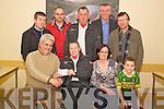 John O'Callaghan, Killarney Lions Club, pictured as he presented the proceeds of their winter series road races to Colette Kiely, Killarney Order of Malta, in the Kerry Parents and Friends, Killarney on Monday night. Also pictured are Noreen O'Sullivan, Jack O'Brien, Cathal O'Grady, Martin O'Brien, Derry Fleming, Liam Ryan and Liam Kealy. ......................
