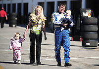 Feb 10, 2008; Daytona Beach, FL, USA; Nascar Sprint Cup Series driver Carl Long with his family during qualifying for the Daytona 500 at Daytona International Speedway. Mandatory Credit: Mark J. Rebilas-US PRESSWIRE