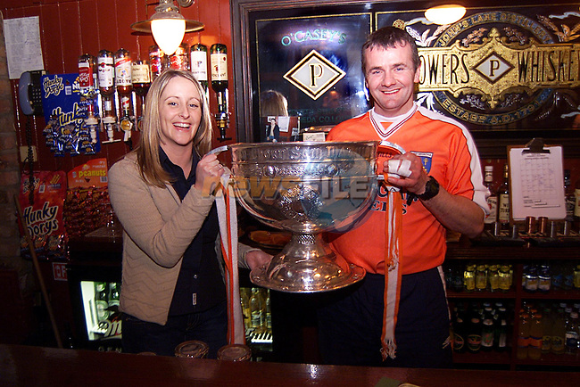 Jenny Cowley and Paddy Cowley with the Sam Maguire Cup,in O'Casey's Bar...Pic Newsfile