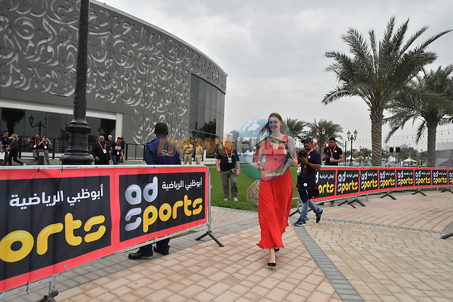 The trophy is presented before the start of Stage 5 of the 2019 UAE Tour, running 181km form Sharjah to Khor Fakkan, Dubai, United Arab Emirates. 28th February 2019.<br /> Picture: LaPresse/Massimo Paolone | Cyclefile<br /> <br /> <br /> All photos usage must carry mandatory copyright credit (© Cyclefile | LaPresse/Massimo Paolone)