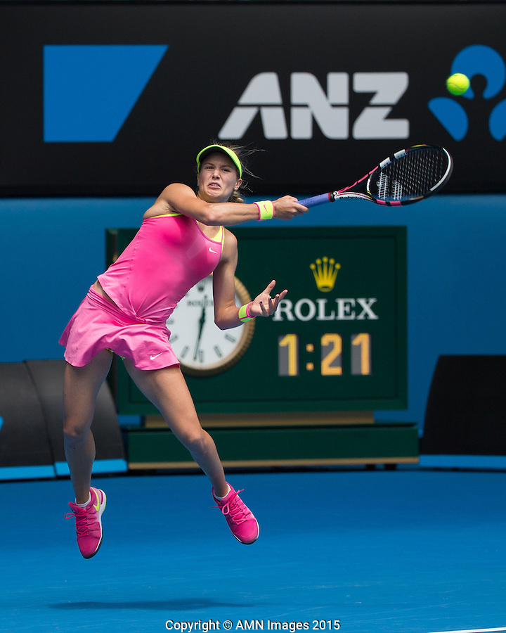 Eugenie Bouchard (CAN)<br /> <br /> Tennis - Australian Open 2015 - Grand Slam -  Melbourne Park - Melbourne - Victoria - Australia  - 25 January 2015. <br /> &copy; AMN IMAGES