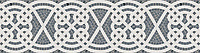 """10 3/4"""" Jared border, a hand-cut stone mosaic, shown in polished Bardiglio and Thassos."""