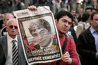 Demonstration against the murder of Armenian journalist Hrant Dink on the day of his funeral, 23 January 2007, Istanbul, Turkey