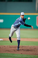 West Michigan Whitecaps starting pitcher Jesus Rodriguez (5) delivers a pitch during a game against the Fort Wayne TinCaps on May 17, 2018 at Parkview Field in Fort Wayne, Indiana.  Fort Wayne defeated West Michigan 7-3.  (Mike Janes/Four Seam Images)