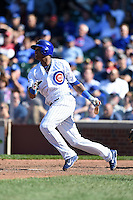 Chicago Cubs shortstop Starlin Castro (13) at bat during a game against the Milwaukee Brewers on August 14, 2014 at Wrigley Field in Chicago, Illinois.  Milwaukee defeated Chicago 6-2.  (Mike Janes/Four Seam Images)
