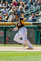 Jefry Marte (24) of the Salt Lake Bees at bat against the Sacramento River Cats in Pacific Coast League action at Smith's Ballpark on May 01, 2016 in Salt Lake City, Utah. Sacramento defeated Salt Lake 16-6.  (Stephen Smith/Four Seam Images)