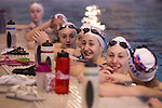 Mcc0037361 . Daily Telegraph..DT Sport..The British Olympic Synchronised Swimming Team training in Aldershot today. They are now being mentored by Olympic Figure Skating Champion Robin Cousins...Aldershot 9 February 2012.
