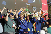 Supporters cheering on the european team during the Friday afternoon fourball at the Ryder Cup, Hazeltine national Golf Club, Chaska, Minnesota, USA.  30/09/2016<br /> Picture: Golffile | Fran Caffrey<br /> <br /> <br /> All photo usage must carry mandatory copyright credit (&copy; Golffile | Fran Caffrey)