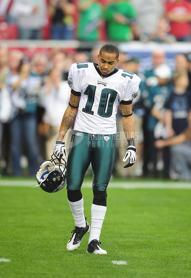 Jan. 18, 2009; Glendale, AZ, USA; Philadelphia Eagles wide receiver (10) DeSean Jackson against the Arizona Cardinals during the NFC Championship game at University of Phoenix Stadium. Arizona defeated the Eagles 32-25 to advance to the Super Bowl. Mandatory Credit: Mark J. Rebilas-