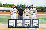 (L-R) Bruce Steel (17), Frankie Scimeca, Chris Schafer (25), and Keegan Maronpot (13) were recognized on Senior Day prior to the game against the Virginia Cavaliers at David F. Couch Ballpark on May 19, 2018 in  Winston-Salem, North Carolina.  (Brian Westerholt/Four Seam Images)