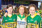 Savanagh Moynihan, Lorna O'Connor and Grace Nagle Rathmore celebrating the arrival of Sam to Kerry in Rathmore on Monday