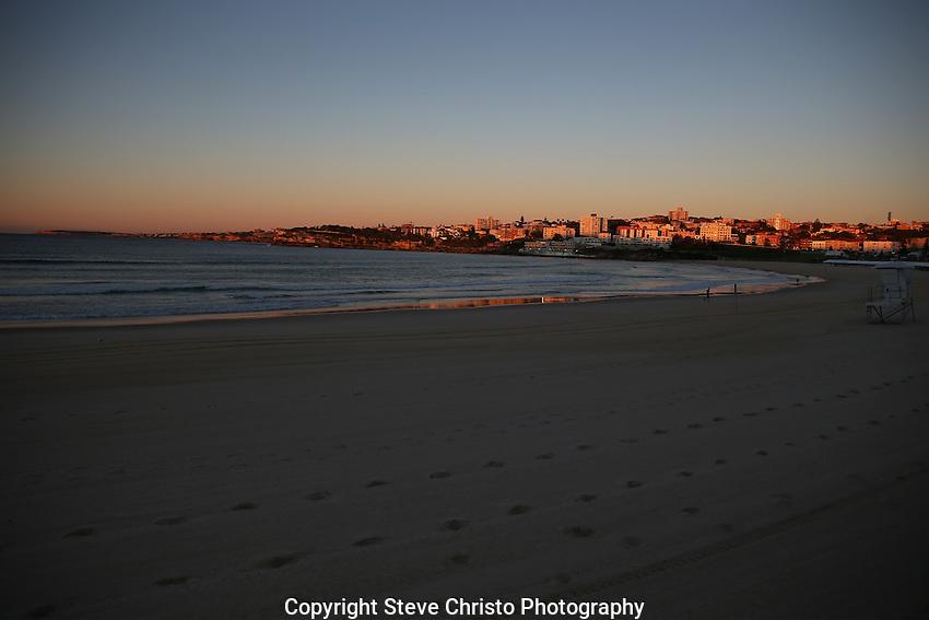 Bondi Beach at Sunrise. Sydney, Australia.  Sunday 11th August  2013.(Photo: Steve Christo)