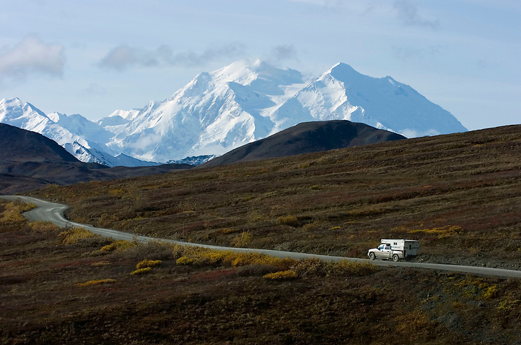 Mount McKinley towers above a road permit lottery winner on Sept. 15, 2008. Even when weather obscures the mountain, the park's wildlife makes the trip special.
