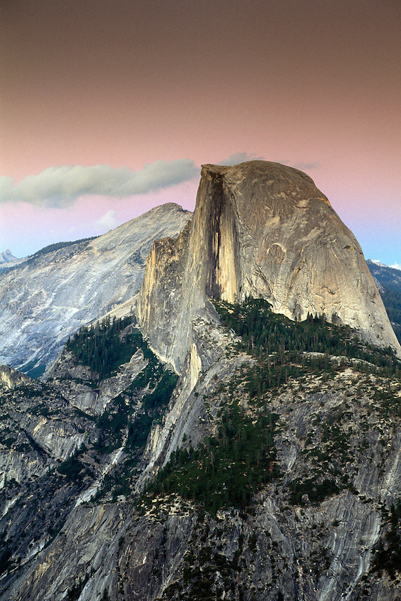 Evening light on Half Dome from Glacier Point, Yosemite National Park, California.
