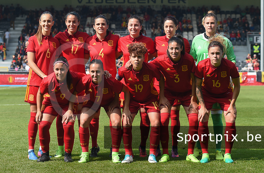 20170408 - EUPEN ,  BELGIUM : Spanish team with Sandra Panos (13)   Leila Ouahabi (3)   Andrea Pereira (4)   Ivana Andres (5)   Virginia Torrecilla (6)   Marta Corredera (7)   Maripaz Vilas (9)   Vicky Losada (14)   Mapi Leon (16)   Olga Garcia (17)  Amanda Sampedro (19)   pictured during the female soccer game between the Belgian Red Flames and Spain , a friendly game before the European Championship in The Netherlands 2017  , Saturday 8 th April 2017 at Stadion Kehrweg  in Eupen , Belgium. PHOTO SPORTPIX.BE | DIRK VUYLSTEKE
