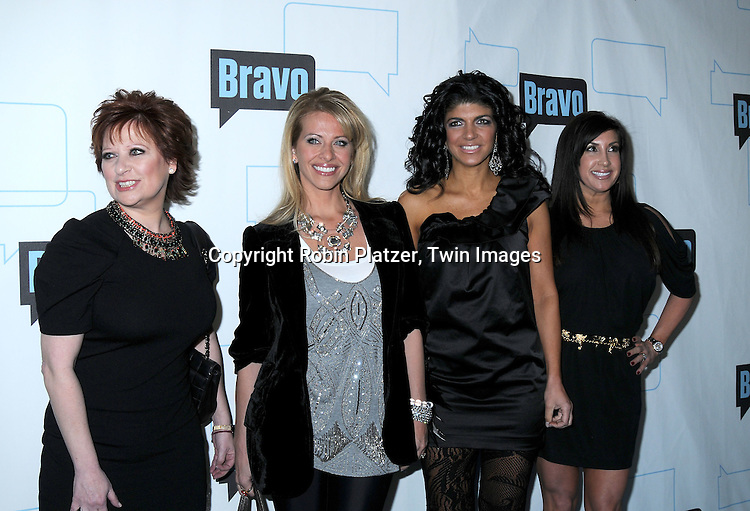 "Caroline Manzo, Dina Manzo, Teresa Giudice and Jacqueline Laurita of ""The Real Housewives of NJ""  posing for photographers at The Bravo Upfront  Party on March 10, 2010 at Skylight Studios in New York City."
