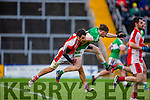 Kerry legend Tom O'Sullivan Rathmore received a red card from referee Padraig O'Sullivan for this tackle on Conor Keane Legion in the O'Donoghue cup final in Fitzgerald Stadium on Saturday
