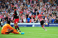 Lincoln City's Matt Green celebrates scoring his sides fourth goal<br /> <br /> Photographer Andrew Vaughan/CameraSport<br /> <br /> The EFL Sky Bet League Two - Lincoln City v Swindon Town - Saturday August 11th 2018 - Sincil Bank - Lincoln<br /> <br /> World Copyright &copy; 2018 CameraSport. All rights reserved. 43 Linden Ave. Countesthorpe. Leicester. England. LE8 5PG - Tel: +44 (0) 116 277 4147 - admin@camerasport.com - www.camerasport.com