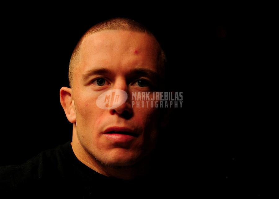 Oct. 29, 2011; Las Vegas, NV, USA; UFC fighter Georges St-Pierre at UFC 137 at the Mandalay Bay event center. Mandatory Credit: Mark J. Rebilas-
