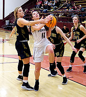 Westside Eagle Observer/RANDY MOLL<br /> Gentry senior Ahrya Reding attempts to shoot against West Fork during play at Gentry High School on Dec. 3.