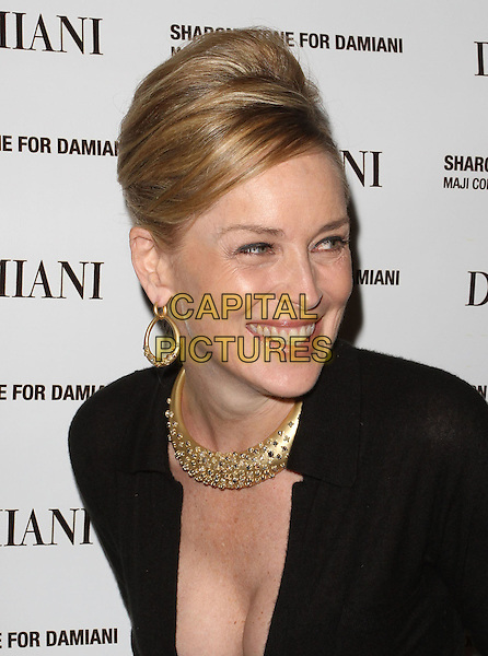 SHARON STONE.Donation to Drop in the Bucket and launch of the new Damiani 'Maji' Jewelry Collection designed by Sharon Stone held at The Beverly Wilshire Hotel, Beverly Hills, CA, USA..November 30th, 2010.headshot portrait hair up beehive smiling laughing cleavage black gold hoop earrings necklace.CAP/ADM/KB.©Kevan Brooks/AdMedia/Capital Pictures.