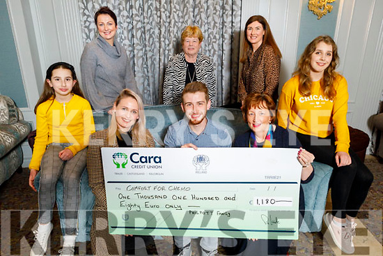 The sum of €1,180 from Alan Philpott who cycled from Perth to Sydney (4,000Km) raised the sum of €1,180 and presented it to Comfort for Chemo in the Rose Hotel on Monday night. Front l to r: Emily Philpott, Elaine Kinsella, Alan Philpott, Mary Fitzgerald and Marta Witkowsk.<br /> Standing l to r: Breda O'Connor, Betty O'Rourke and Mary Philpott.