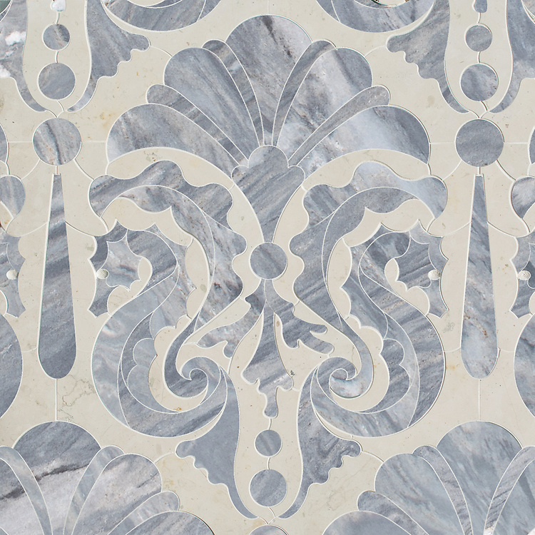 "Caroushell®, a waterjet stone mosaic, shown in polished polished Argent Blue and Bianco Antico, is part of Cean Irminger's second KIDDO Collection, ""KIDDO: Wunderkammer® Edition"" for New Ravenna."